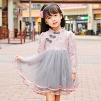 女童连衣裙秋装蕾丝裙子小女孩公主裙2017新款长袖儿童韩版