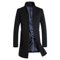 冬季毛呢大衣男中长款商务休闲修身加厚羊毛呢子外套风衣 黑色 0M(110-125斤)