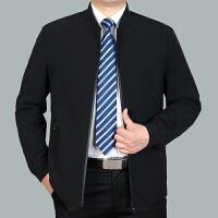 中年男士夹克春秋季宽松休闲薄款外套男中老年茄克衫大码爸爸装