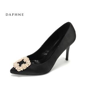 Daphne/达芙妮2017春性感尖头超高跟鞋 时尚钻饰方扣浅口细跟单鞋