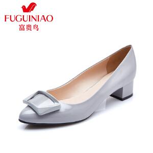 富贵鸟 夏季新款方形扣饰头层牛漆皮女单鞋橡胶底粗跟女鞋