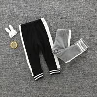秋冬季男女宝宝白条运动裤子加绒加厚女童收口休闲裤打底裤纯棉