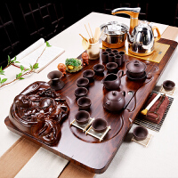 【品牌热卖】茶具套装四合一家用简约整套紫砂陶瓷功夫茶盘实木喝茶自动电磁炉茶台 浮雕弥勒佛紫砂(全自动金) 39件