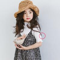 2017夏季韩版女童木耳边修身短袖纯棉T恤中大童儿童打底衫亲子装