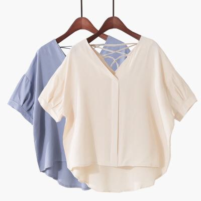 2018夏季新款韩版超柔棉绸显瘦v领短袖T恤上衣宽松前短后长衬衫女