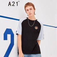 A21以纯线上品牌2018夏季新品男装短袖T恤男宽松圆领插肩袖刺绣短袖男衫4821330204
