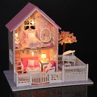 儿童diy小屋粉色樱花建筑模型别墅公主创意生日礼物