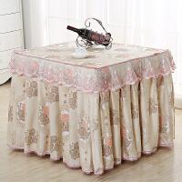电炉罩薄款烤火罩麻将机餐桌布盖布防尘长方形茶几罩取暖桌布 粉红色 富贵粉