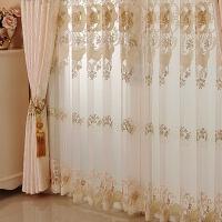 欧式窗帘水溶绣花定制窗帘成品半遮光客厅卧室成品布简约