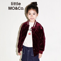 littlemoco秋冬新品儿童棉服条纹棒球领菱纹短款男女童夹克外套