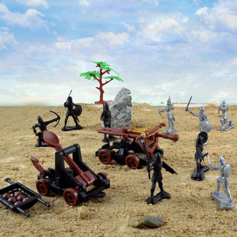中世纪古代兵人战马骑士兵投石车攻城堡军事战争模型儿童玩具套装