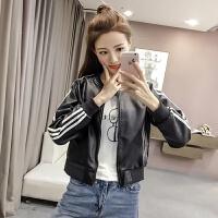 秋装新款女装韩版条纹长袖皮衣短外套百搭时尚棒球服短款夹克上衣 黑色