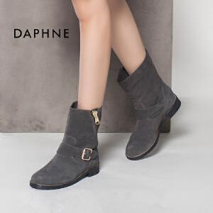 达芙妮冬 时尚侧拉链圆头皮带扣女短靴