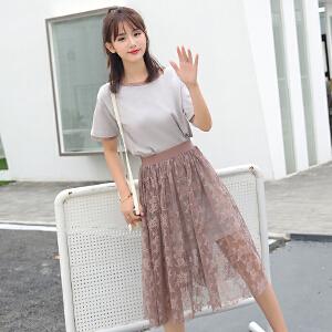 【超值两件套】甜美小清新连衣裙女2018夏季新款韩版中长T恤+蕾丝裙两件套连衣裙
