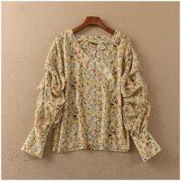 春季新品宽松V领花色长袖薄款套头雪纺衫女23060