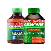 【网易考拉】【美白淡斑去自由基组合】Cenovis无糖维C咀嚼片300片/瓶+维生素E胶囊