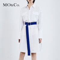 MOCO连衣裙春新款女衬衫裙女 中长款 MA181DRS109 摩安珂