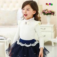 2018春秋季新款女童甜美打底衫韩版童装全棉蕾丝钉珠儿童长袖T恤