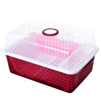 厨房置物架碗筷收纳盒塑料碗柜桌面带盖沥水碗架放碗碟盘子收纳架