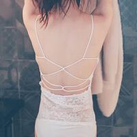 !夏季短款防走光背心蕾丝抹胸围胸美背白色少女性感裹胸内衣 白色有肩带【长款】 无内裤 均码