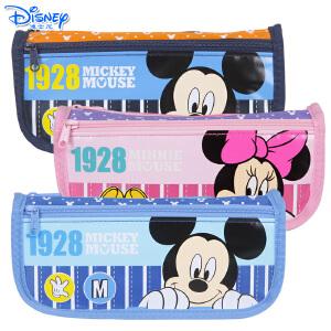迪士尼儿童卡通简约大容量笔袋米奇米妮双层文具笔袋铅笔袋