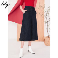 Lily春新款女装帅气OL通勤绑带七分阔腿牛仔裤118130G5408