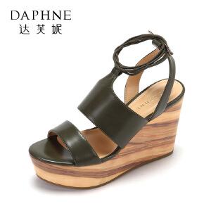 Daphne/达芙妮夏新品超高跟罗马女鞋 简约一字带舒适坡跟凉鞋