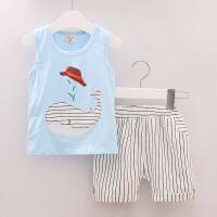 女童男童休闲两件套夏装儿童装宝宝无袖T恤短裤背心运动套装