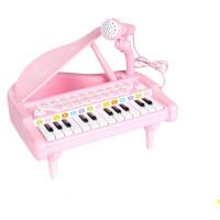 儿童玩具 小钢琴电子琴玩具带麦克风女孩宝宝儿童早教益智生日礼物 粉色24键