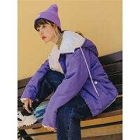 紫色宽松连帽短款秋冬女2019新款韩版原宿风两穿ins棉衣外套