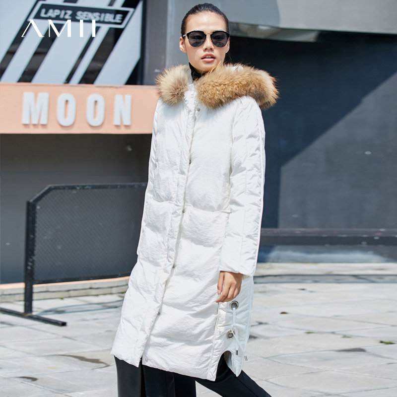Amii休闲 90白鸭绒羽绒服女 冬装新宽松貉子毛连帽拉链绑带外套