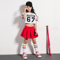 儿童爵士现代舞蹈演出服装套装 新款女童街舞jazz露脐宽松短袖 短袖+裙子+袜子
