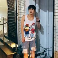 新款韩版纯棉无袖卡通印花男士背心宽松运动打底汗衫潮男