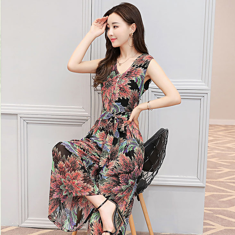 苿莱新款棉麻印花连衣裙2018夏季女装时髦连体阔腿裤