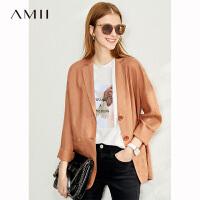 【券后预估价:216元】Amii极简英伦风气质西装外套女2020春季新款宽松亚麻休闲小外套