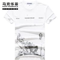 马克华菲男士短袖T恤2021夏季新款名牌男装白色纯棉印花潮流百搭