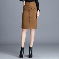 毛呢半身裙秋冬中长款新款高腰显瘦大码加厚职业一步裙包臀裙