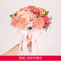 结婚庆用品手捧花仿真韩式玫瑰花束婚纱摄影道具新娘伴娘婚礼花束
