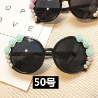 韩国手工时尚海边度假玫瑰花瓣花朵太阳眼镜珍珠水钻圆形白墨镜女
