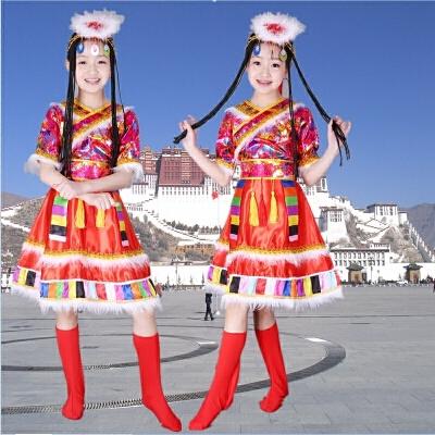儿童少数民族演出服 藏族舞蹈水袖服装蒙古族女表演服