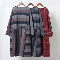 J5秋装新款女装条纹格子 长袖连衣裙 棉麻风宽松文艺A字裙0.3