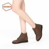 shoebox鞋柜冬款PINKII时尚舒适复古马丁靴女绒面低跟短