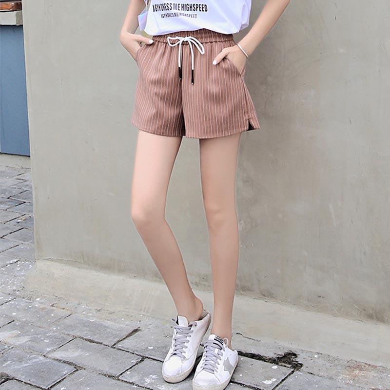 短裤女夏季新款百搭显瘦系带休闲裤条纹宽松松紧A字裤阔腿裤