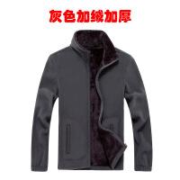 男士抓绒卫衣秋冬季新款摇粒加绒开衫宽松上衣男装大码休闲外套