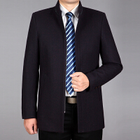 中年男士羊毛大衣秋冬加厚毛呢外套爸爸冬装休闲短款羊毛呢子大衣