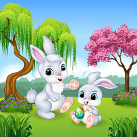 5d钻石画卡通儿童房间装饰画点贴钻十字绣新款卧室可爱小兔子动物