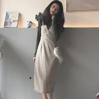 秋冬女装韩版chic高领纯色打底衫+灯芯绒吊带裹胸V领连衣裙两件套