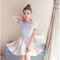 夏季韩国学院风拼色翻领针织衫高腰半身裙A字时尚 条纹修身 夏装 白色 均码