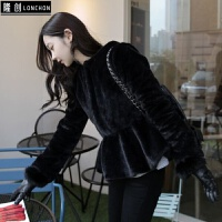 冬季新款韩版修身毛绒绒大衣女短款毛毛水貂仿皮草连帽外套女