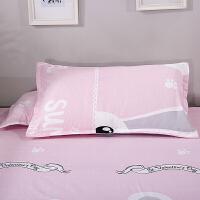 枕套一对装纯棉枕芯套子枕头套48*74单人学生信封式枕套2只 48cmX74cm